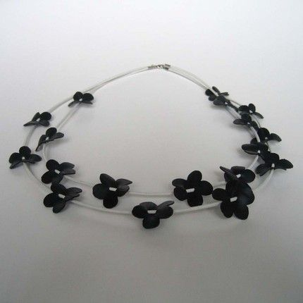 Bike inner tube flower necklace
