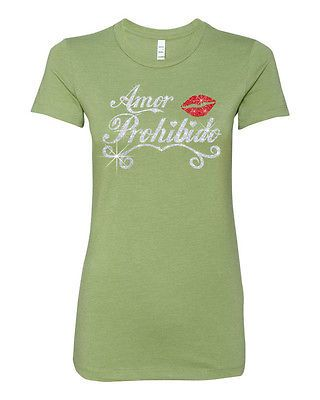 Selena Quintanilla Amor Prohibido Kiss Lip Glitter T shirt Latina superstar
