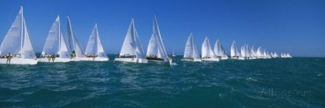 Sailboat Racing in the Ocean, Key West, Florida, USA Photographic Print
