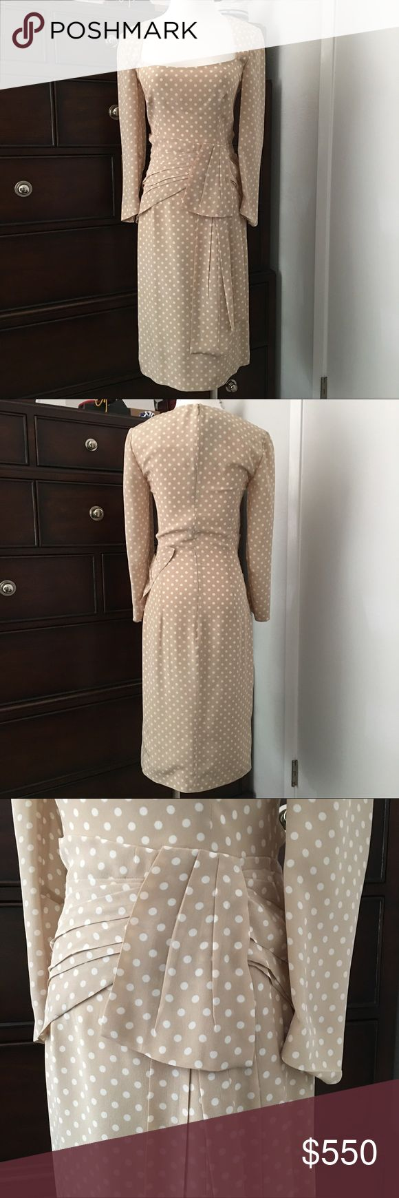 NWT Prada Beige Polkadot Silk Dress Sz 38 US 2 NWT Authentic Prada Polkadot silk dress. Sz 38 US Sz 2. So very Kate Middleton in its ladylike cut and detail.  Gorgeous bow detail at the waist. There is a loose stitch on the left sleeve. Instyle Magazine just featured polkadots as a hot trend for this season in the latest issue! Retail $2250. Prada Dresses