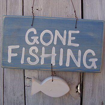 gone fishing sign by giddy kipper | notonthehighstreet.com
