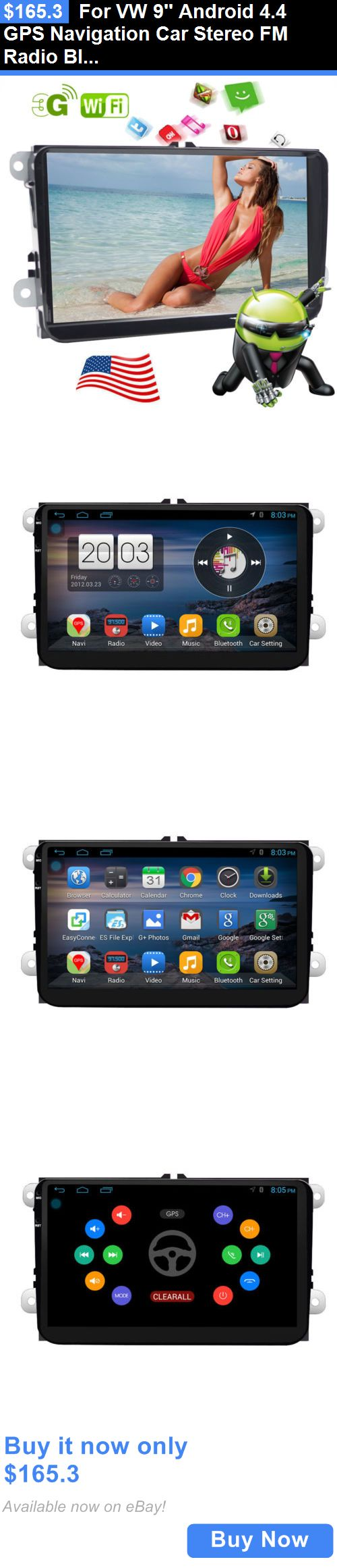 Vehicle Electronics And GPS: For Vw 9 Android 4.4 Gps Navigation Car Stereo Fm Radio Bluetooth Wifi Bora B5 BUY IT NOW ONLY: $165.3