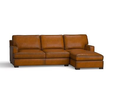 Townsend Square Arm Leather Left Chaise Sofa Sectional, Polyester Wrapped Cushions, Leather Burnished Bourbon