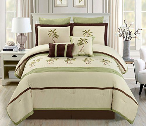 6 Piece Oversize Sage Green  Beige  Brown Tropical PALM TREE Embroidered Luxury Comforter set Twin Size Bedding * ** AMAZON BEST BUY **