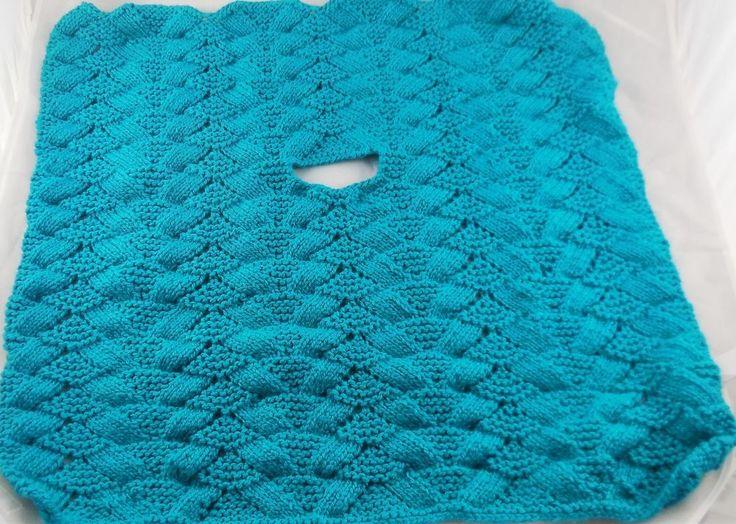 New Handmade knit Baby CAR SEAT BLANKIE, afghan, BLANKET, TEAL 26 X 26 #Handmade