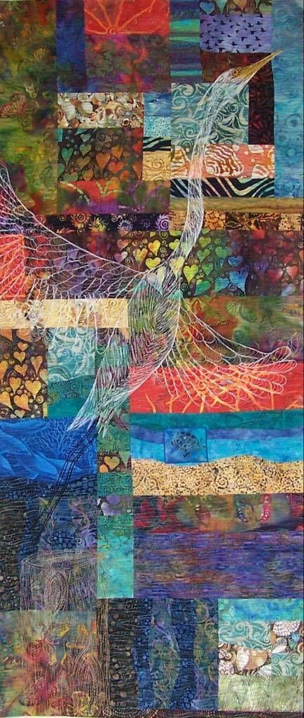 I love the quilted bird. Fiber Art Quilts-Landscape