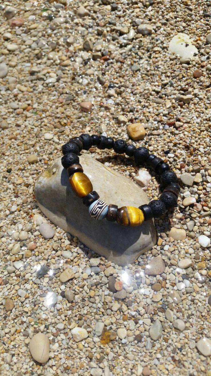 Lava & tiger's eye gems bracelet
