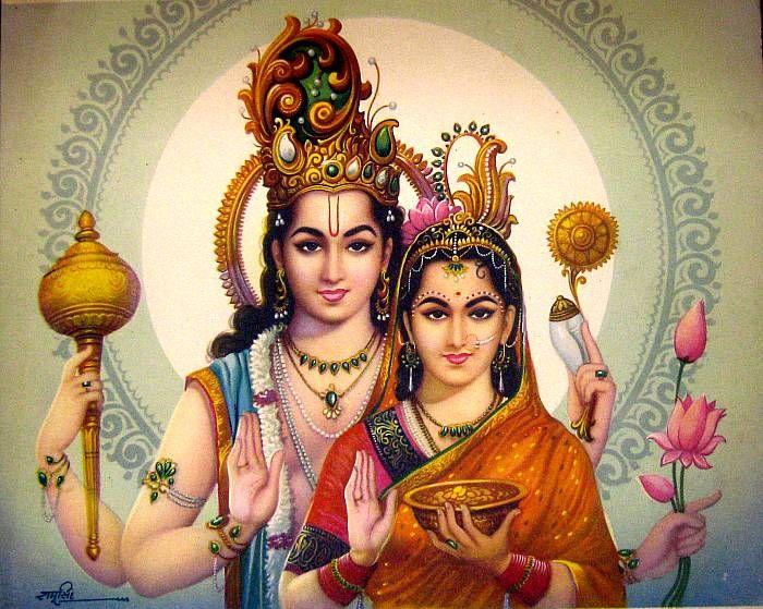 Vishnu and Lakshmi pose together for a portrait; bazaar art, c.1980's