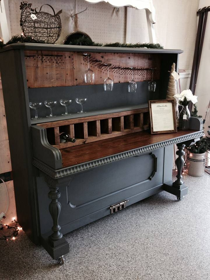 From Bluebelle Vintage Interiors -- This Piano Bar has been such a fun project. Lots of hard work and love went into this. We have left as much original as possible. You will find serial numbers on the bar and in the wine rack. It has been done in Maison Blanche Paint Company's Confederate Gray and Light Brown Wax.