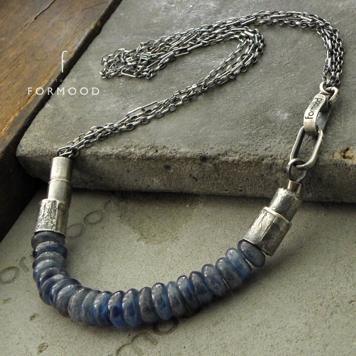 Oxidized sterling silver & blue kyanite - necklace by studioformood on Etsy https://www.etsy.com/ca/listing/572990109/oxidized-sterling-silver-blue-kyanite