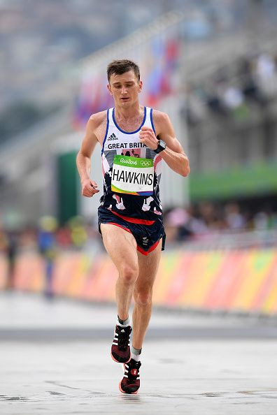 Derek Hawkins of Great Britain races to the finish line during the Men's…