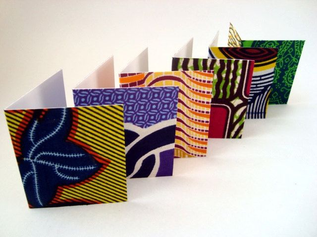 African wax print card set with envelopes x 6. £6.20, via Etsy.