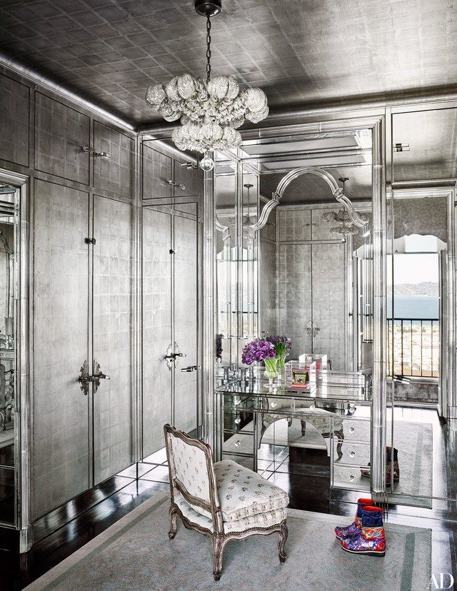 A dressing room decked out in mirrors and silver wallpaper—is all original | archdigest.com