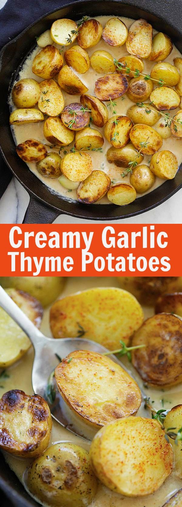 Creamy Garlic Thyme Potatoes – the best and easiest potatoes with garlic thyme in buttery and creamy sauce. A perfect side dish   rasamalaysia.com