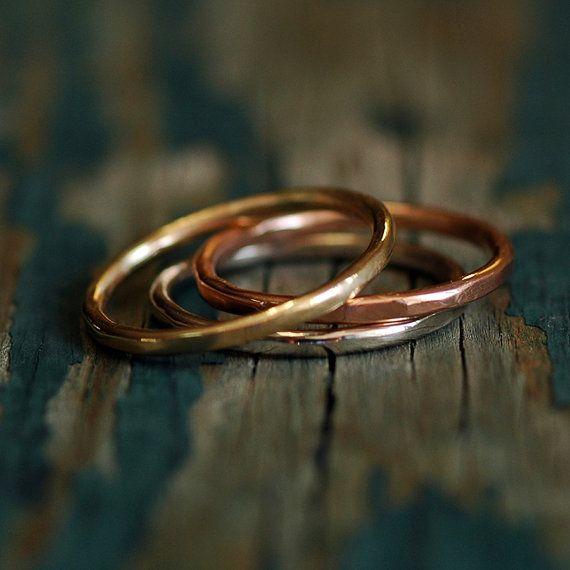Gold Stacking rings - Tri-Metal 14 karat Gold - Tri Gold - Ring Set  - Yellow White Rose Gold - Everyday Rings - Wedding Bands - Hammered