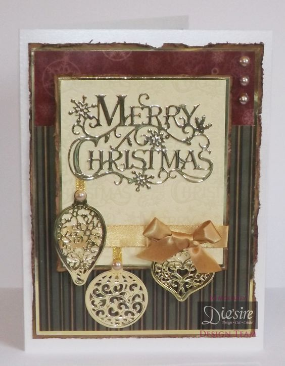 Card using the Sara Signature Traditional Christmas range - Merry Christmas die, Decorative Bauble dies - designed by Jo McKelvey #crafterscompanion #Christmas