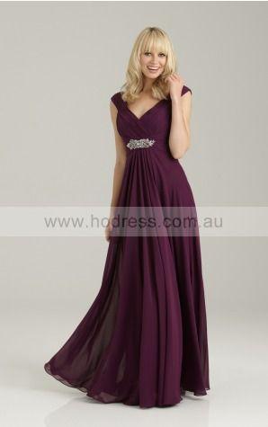 Zipper Floor-length Empire A-line Chiffon Formal Dresses amfa307029--Hodress