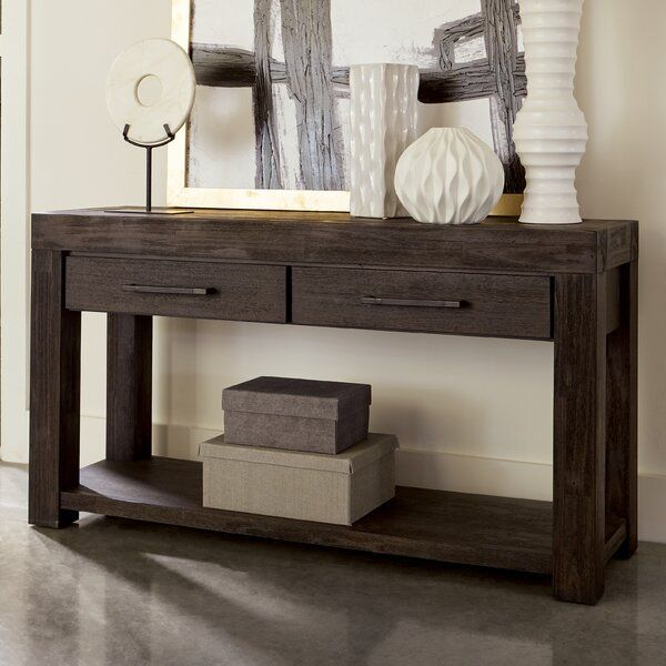 Union Rustic Robbs 55 Solid Wood Console Table Wayfair Furniture - White Console Table With Storage Ikea