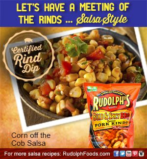 Our corn off the cobb salsa recipe pairs perfectly with our Bold & Spicy BBQ Pork Rinds! #NationalSalsaMonth