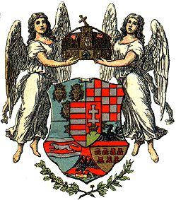 Empire of Austria-Hungary, medium coat of arms of the Hungarian Countries, Hickmanns Taschenatlas, G. Freytag & Berndt, Vienna - Leipzig 1912.