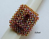 Iridescent Bronze Seed Bead Cocktail Ring, Statement Beadwork Ring, 3D RAW, Women's Beadwoven Jewelry, Everyday Jewelry, Unique Gift, OOAK