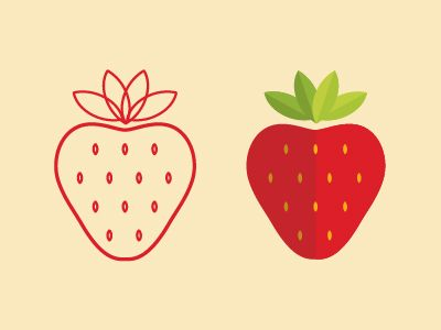 left vs right, strawberry illustrations by Natalia Vargas