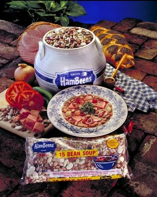 15 Bean Soup 1- Package Hurst's® 15 Bean Soup 1 lb.smoked sausage (if desired) 1 cup onion, chopped 1 15 oz. can diced or stewed tomatoes 1 tsp. chili powder Juice 1 lemon 1-2 cloves minced garlic 1 quart broth