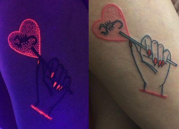Los tatuajes fluorescentes de esta artista te harán brillar y se convertirán en un aditamento más de tu personalidad: no dejes que se apague tu piel jamás.