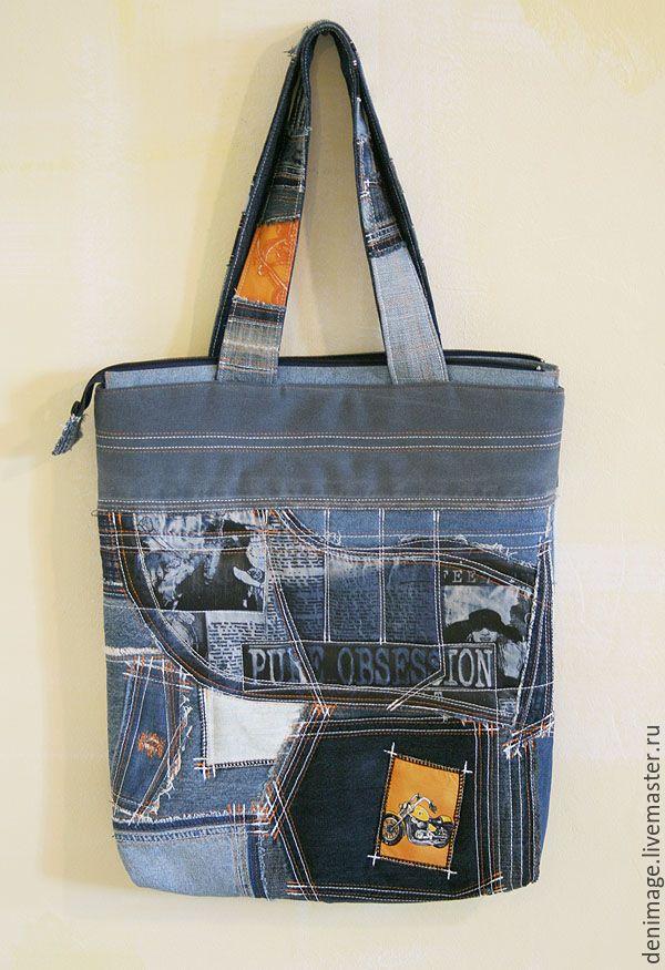 """Купить Джинсовая сумка """"Obsession"""" - джинсовая сумка, большая сумка, хиппи стиль, рваный край"""