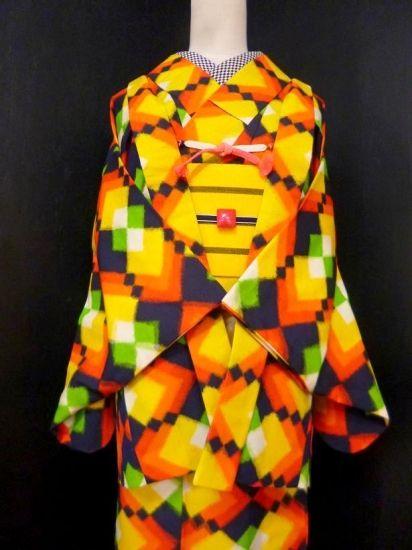 ●ガールズ●良品!!【アンサンブル】ネイビー* カラフルダイヤ ウール 裄60丈153 - アンティーク着物や現代着物なら雅星本店
