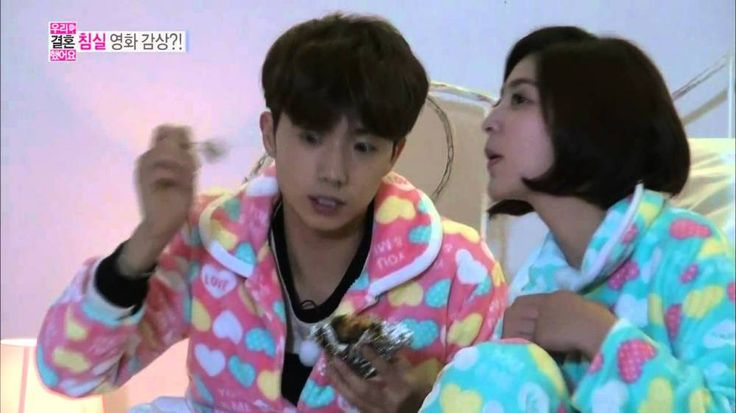 Wooyoung and Park Se Young have a slumber party on 'We Got Married' | http://www.allkpop.com/article/2014/03/wooyoung-and-park-se-young-have-a-slumber-party-on-we-got-married