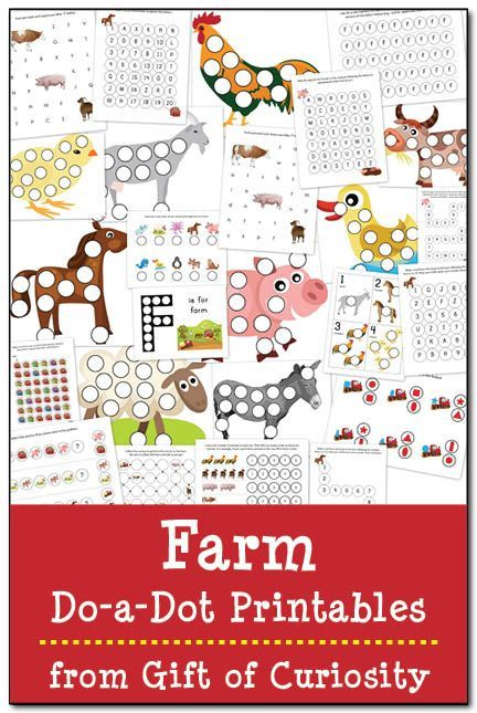 Free Farm Do-a-Dot Printables: 25 farm do-a-dot worksheets to help kids work on one-to-one correspondence, shapes, colors, patterning, letters, and numbers. Great for a toddler or preschool farm unit! || Gift of Curiosity