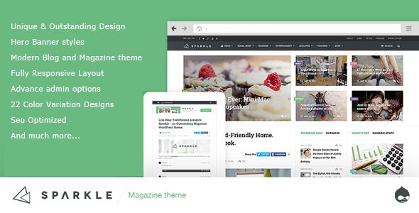 Sparkle - Responsive News/Magazine Drupal theme