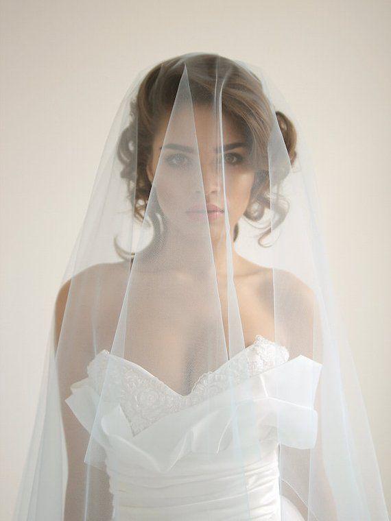 Blue cathedral wedding veil with blusher, ivory cathedral wedding veil, blusher veil, blue wedding v