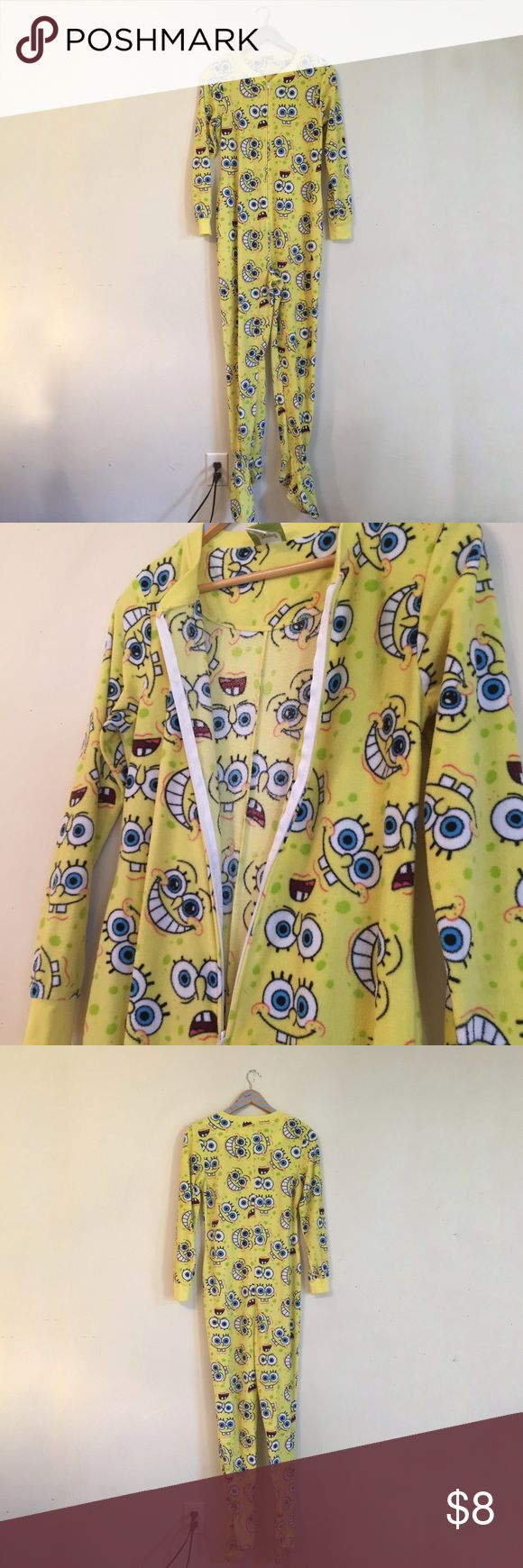 SpongeBob Onesie Measurements are available upon request. No models, swaps, or holds. Please do not make offers on items price $8 or under unless bundling.   Size: Medium. Not sure if women's or unisex. Brand: SpongeBob Fit: Formfitting, some stretch Sleeves:  Long sleeves Material: Color: Yellow, black, white, pink, blue Purchased at: Target Other details: Zips in front. SpongeBob face Print throughout Condition: Pre-loved. No noteworthy flaws MSRP $29.99  For shipping purposes: Item…