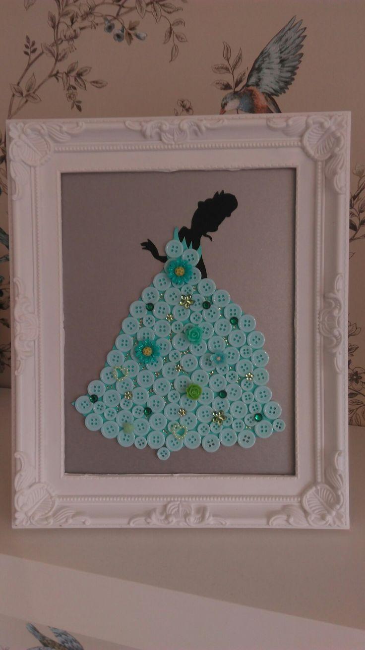 Disney inspired Tiana button art #clairescraftboutique