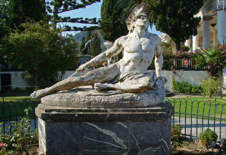 Achilles dying. Location: Achilleion Palace at Corfu, Greece.: Achilleion Palaces