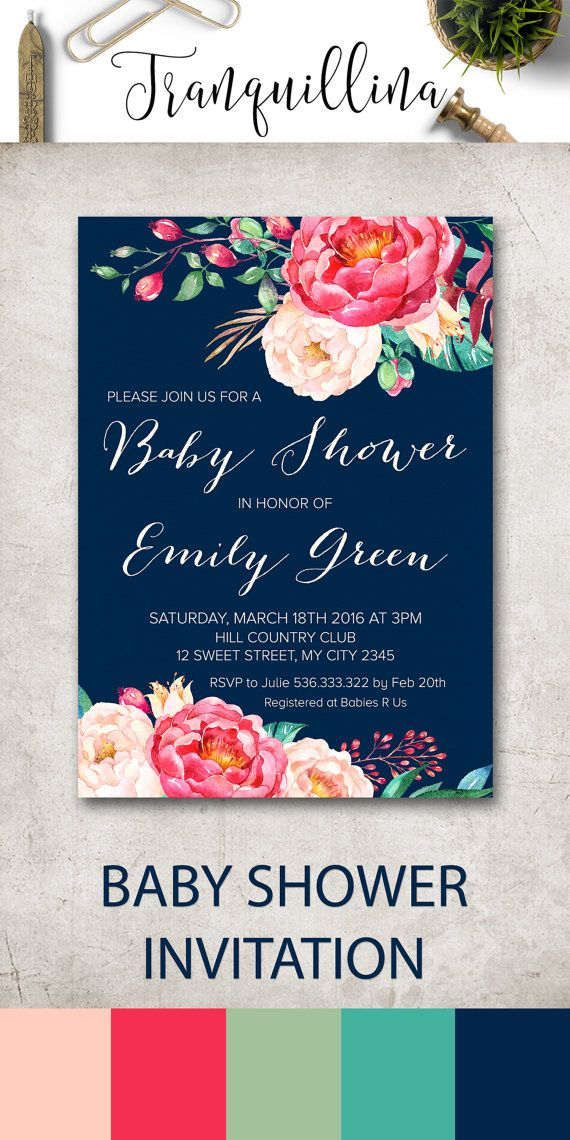 Printable Baby Shower Invitation, Floral Baby Shower Invitation Printable, Girl Baby Shower Invitation, Modern Pink Navy Boho Baby Shower Ideas. Matching games and cards available at: tranquillina.etsy.com