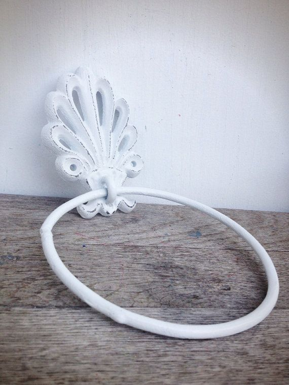 BOLD bright white ornate shell bathroom towel ring by HOUSEOFBOLD
