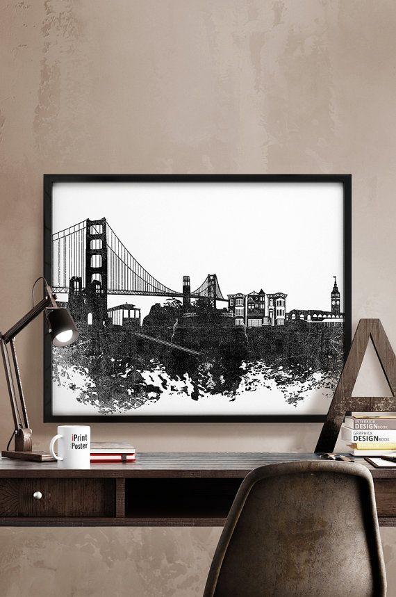 San Francisco skyline, San Francisco print, black & white, California, wall art, home decor, distress, city prints, art print, iPrintPoster