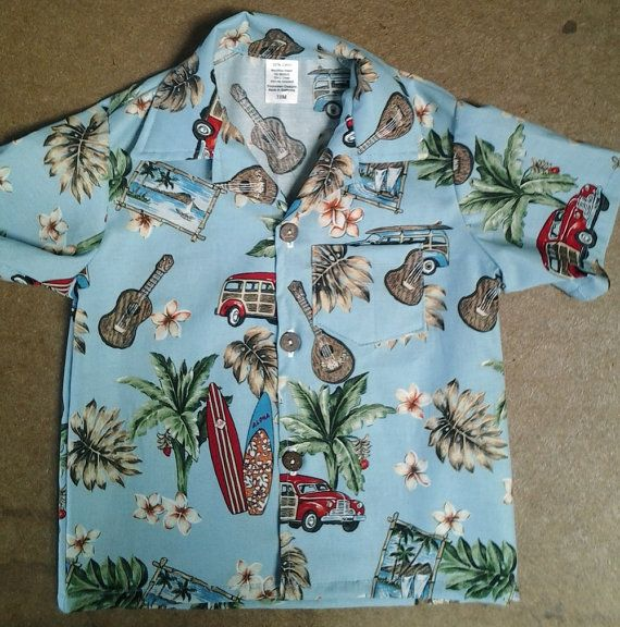 Infant Boys Hawaiian shirt Around the Island light blue
