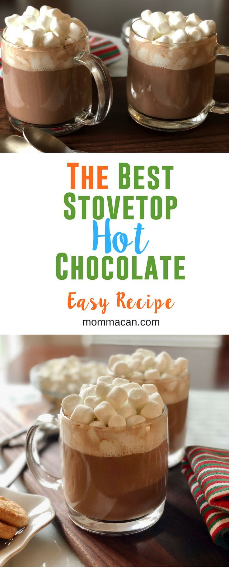The Best Stovetop Hot Chocolate Recipe! This is the world's best hot chocolate recipe!  A family favorite perfect for cool weather! #hot chocolate #hotcocoa via @mommacan
