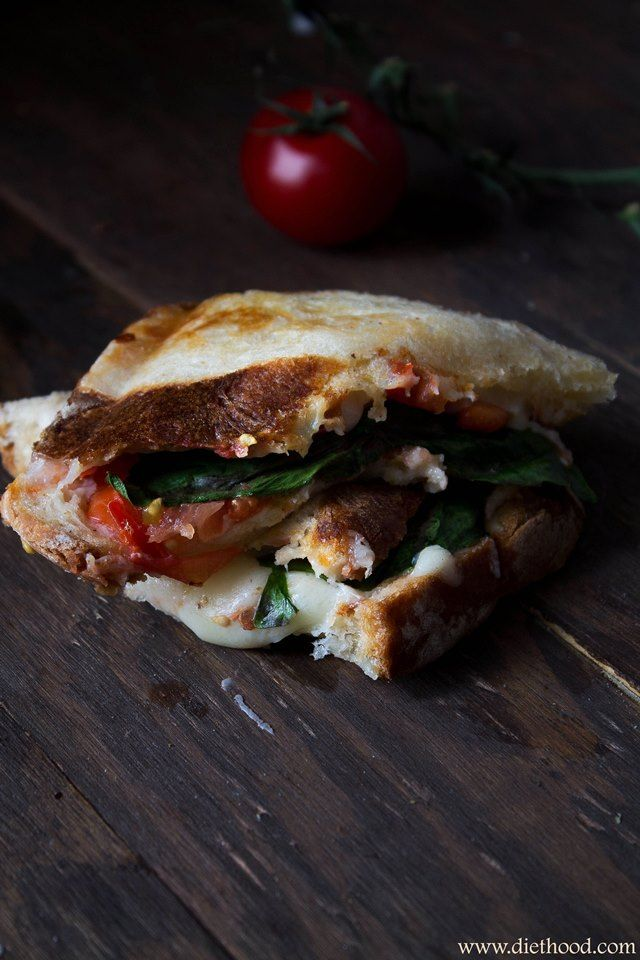 Caprese grilled cheese sandwich 2 slices Italian Bread butter 2 thick ...