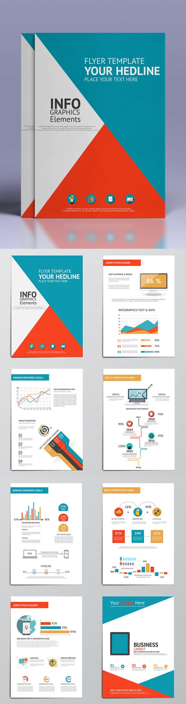 Business Infographics Elements For Brochures - Template Vector AI, EPS