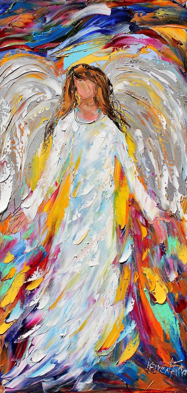 Original oil Holiday Angel PALETTE KNiFE painting by Karensfineart Oil ...