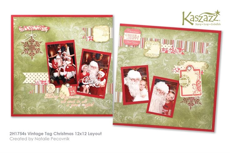 2H1754s Vintage Tag Christmas 12x12 Layout