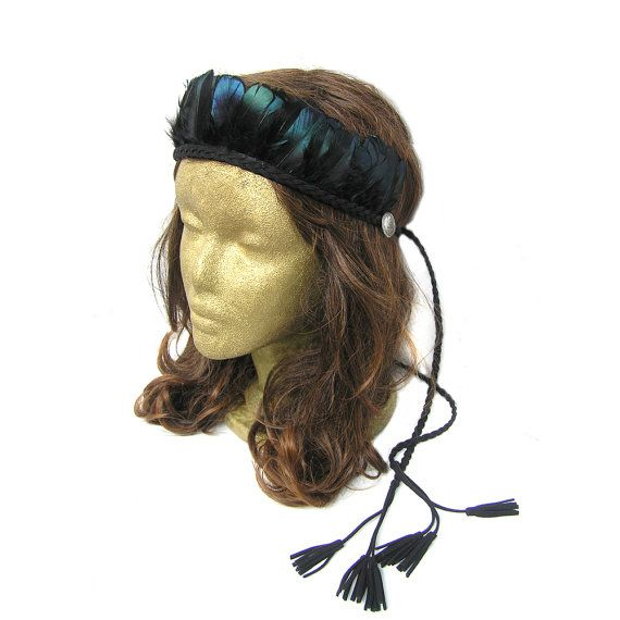 Feather Headpiece Music Festival Headband Indian by curtainroad
