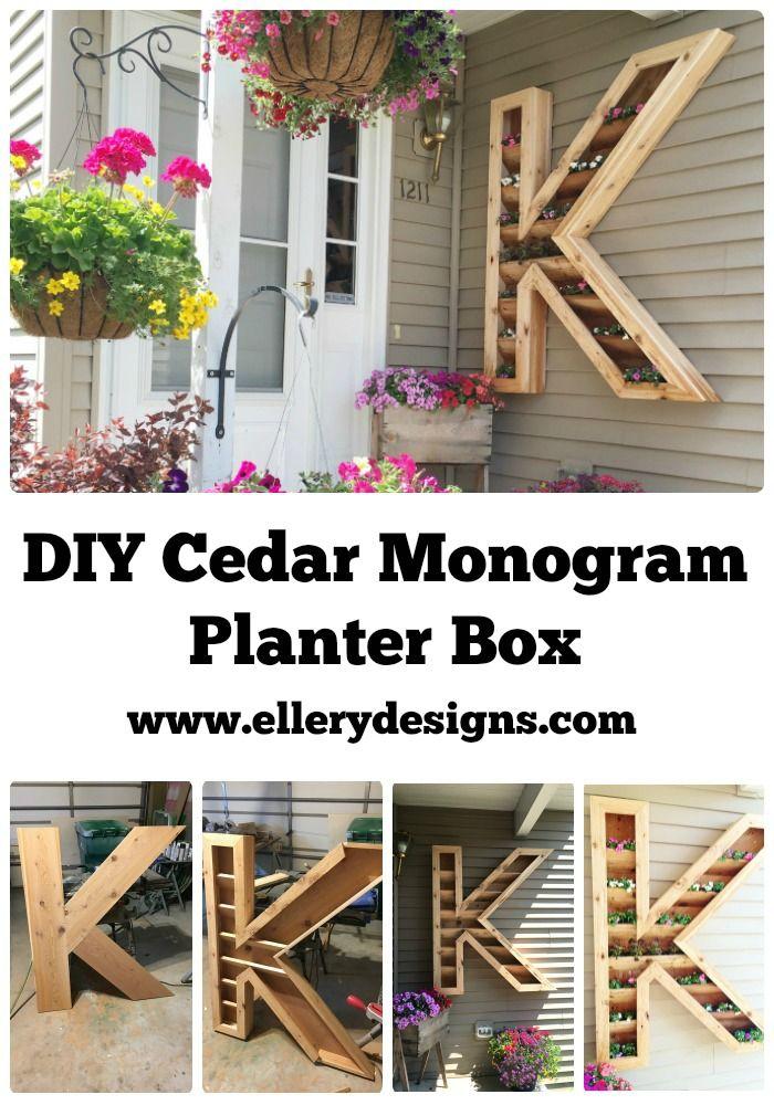 DIY Cedar Monogram Planter Box by ElleryDesigns.com