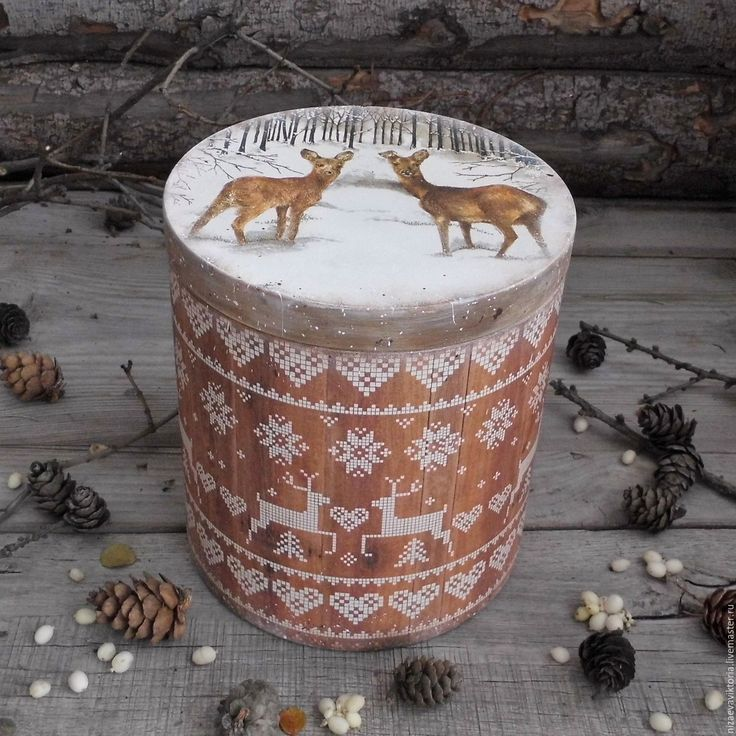 """Купить """"Пряничное Рождество"""" Большой короб из Ольхи - деревенский стиль, винтаж, Короб деревянный"""