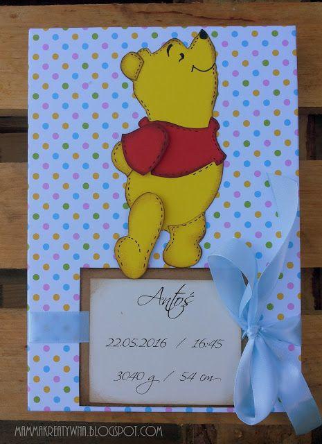 Ręcznie robiony album do zdjęć z metryczką i Kubusiem Puchatkiem. Handmade photo album with Winnie The Pooh.
